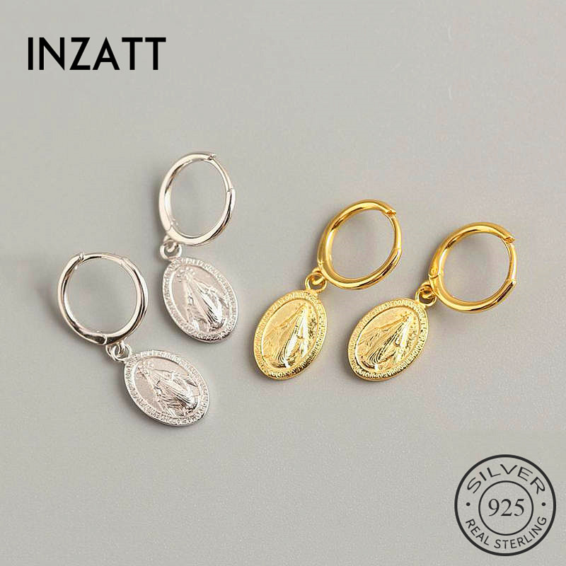 INZATT Real 925 Sterling Silve Vintage Geometric Round Hoop Earrings For Fashion Women Party Fine Jewelry  Accessories Gift