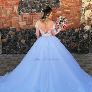 Image 4 - Julia Kui Off White Skin Tulle Of Scoop Neckline Ball Gown Wedding Dress With Long Sleeve Princess Wedding Gown