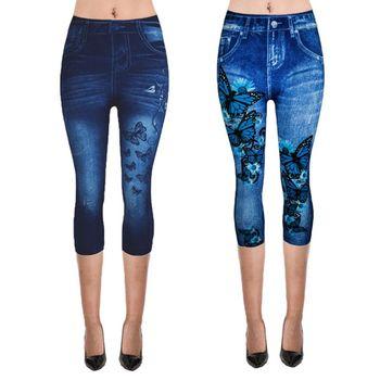 Womens Plus Size Fake Jeans Capri Pants Retro Wash Color Butterfly Denim Print Leggings High Waist Cropped Elastic Tights XS-3XL