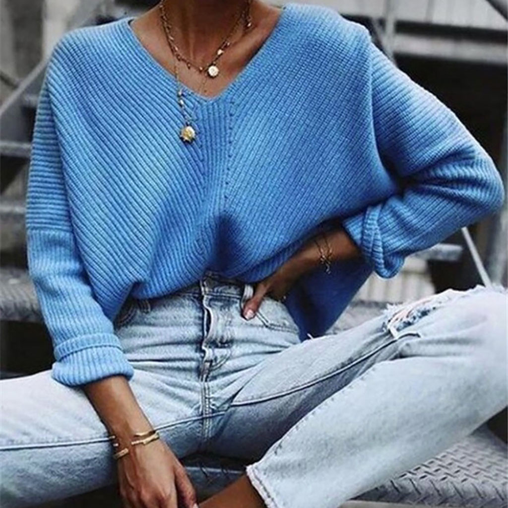2020 Autumn Winter Solid Knitted Women Sweaters Pullovers Long Sleeve Sweater Slim Pull Femme Jumpers Knitted Sweater Blouse#905