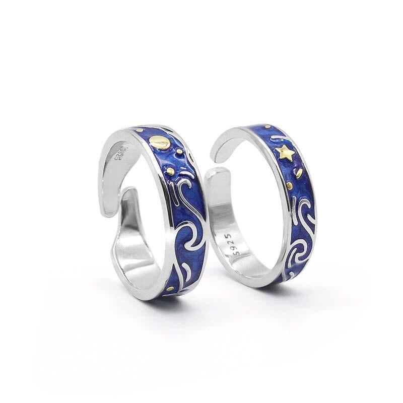 Van Gogh ciel étoilé Couple bague pour femmes hommes bleu ouvert réglable lune étoile romantique bijoux accessoires anniversaire cadeau