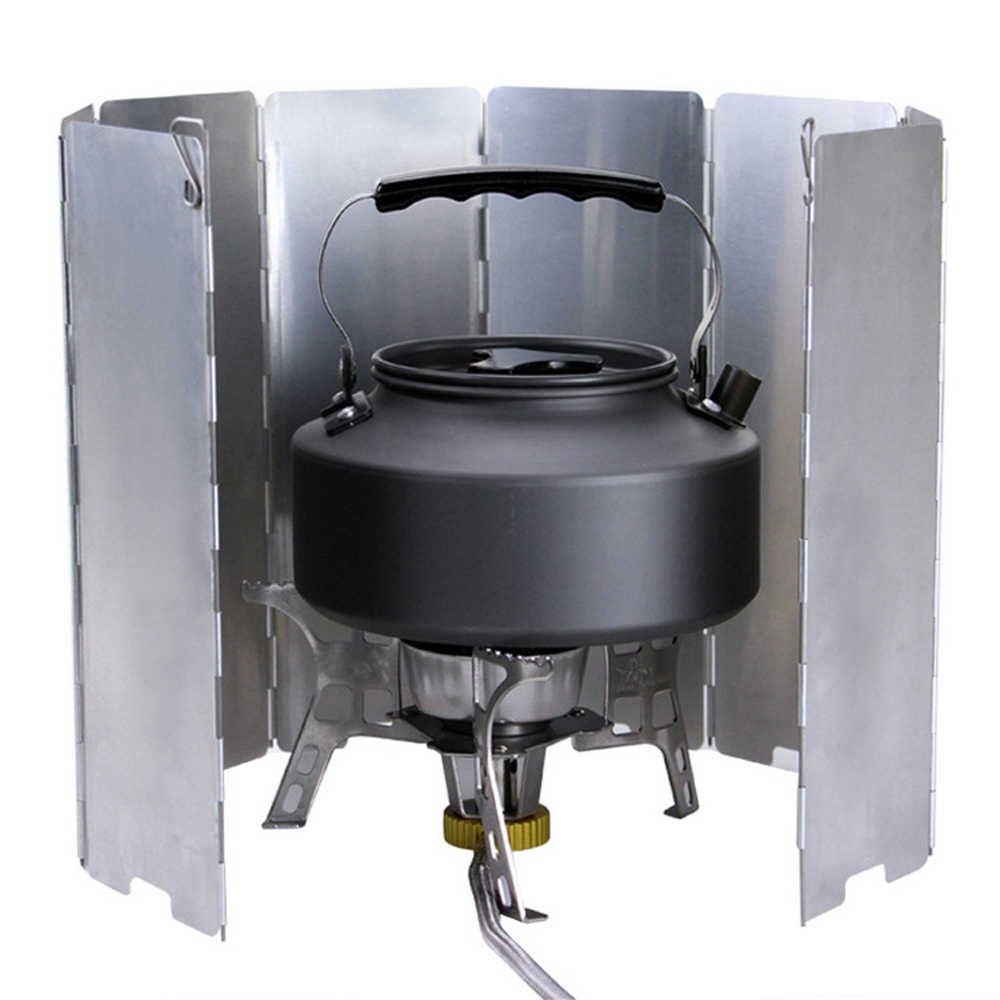 8 Plate Stove Windshield Aluminium Alloy Stove Wind Screen for Picnic Cooker Outdoor Stove Set