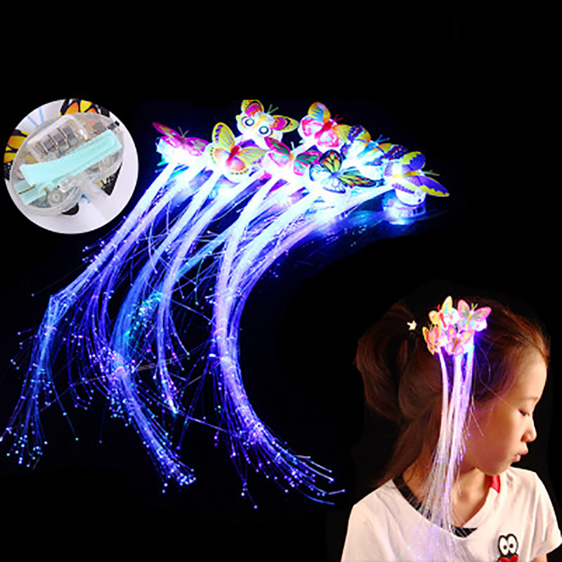 Hot Fiber Headband Toys Girl Light Wigs Butterfly Hair Accessories Creative Colorful Tweezers Princess Hair Clips Party Supplies
