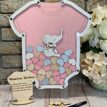 personalize wooden romper Baby Shower Guest Book Alternative, custom first communion Christening guestbook drop top wish box