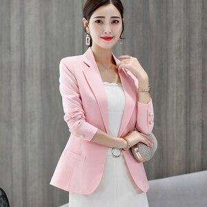 Image 2 - Женские блейзеры 2020, элегантные тонкие повседневные женские блейзеры с длинными рукавами, подходящие ко всему женские блейзеры с длинными рукавами в Корейском стиле, модные повседневные шикарные блейзеры