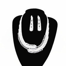 New Fashion Necklace Earrings Set Wedding Bride Bridesmaid Exquisite Luxury Jewelry Accessories Women Attending Banquet