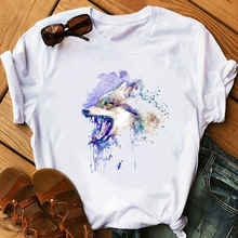 Brand Wolf T shirt Women Funny white T-Shirt Girl Casual Animal Tshirt Female Summer Short Sleeve O Neck Loose Tshirt tee Tops