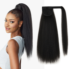 Long Kinky Straight Ponytail Wig Heat Resistant Synthetic Fake Hairpiece For Black Women Wrap Around Clip in Hair Extension fashion long straight 6h27h613 heat resistant synthetic hair extension for women