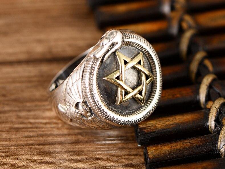 S925 six branches étoile serpent anneau hommes personnalité Thai argent moyen doigt index anneau rétro mode livraison gratuite