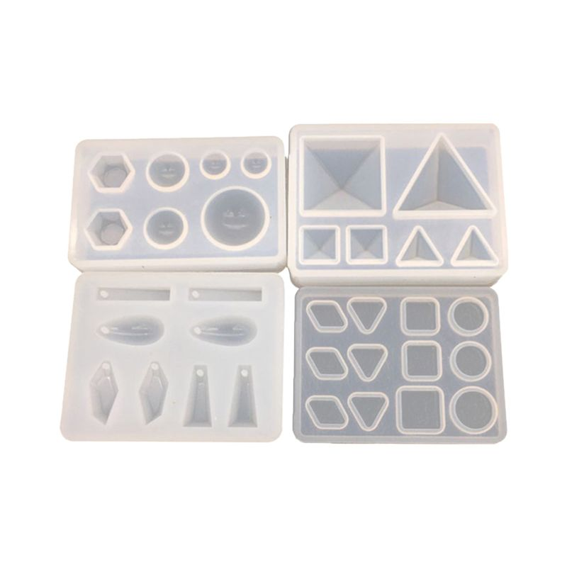 4 Pcs/set UV Silicone Crystal Epoxy Mold With Hole Pendant Small Pyramid Geometry Molds DIY Jewelry Making Mould T4MD