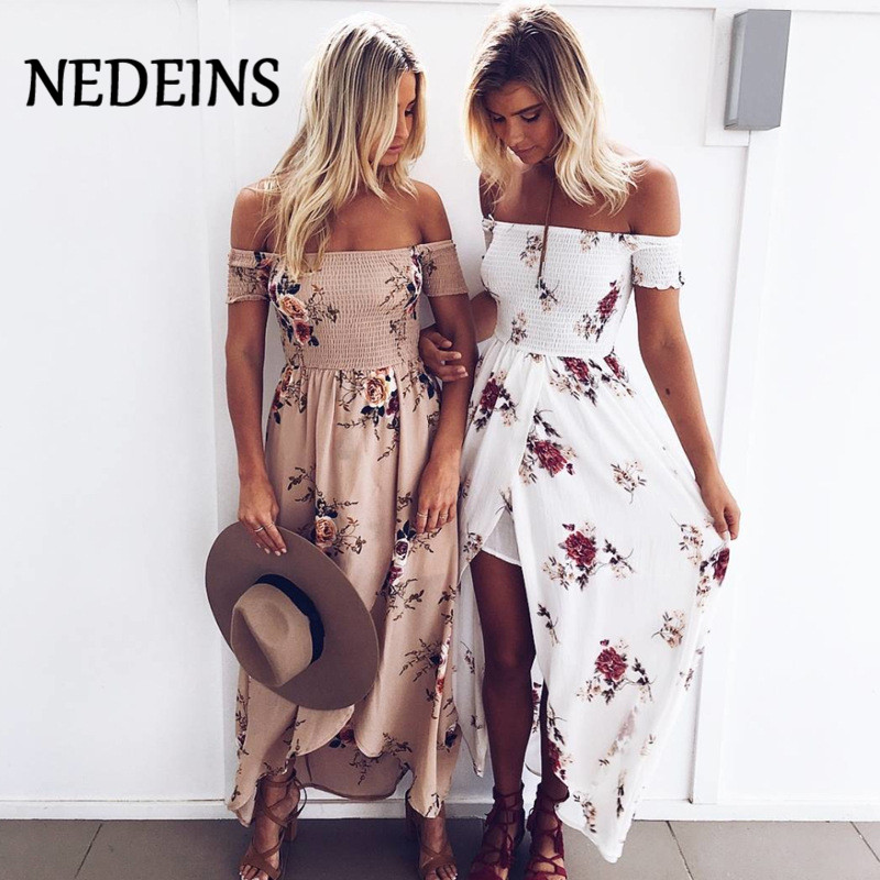 NEDEINS 2020 Women Sexy floral Dress Summer Split Maxi Beach Sundress Off Backless Dress Boho Long Dresses Vestidos Femme(China)