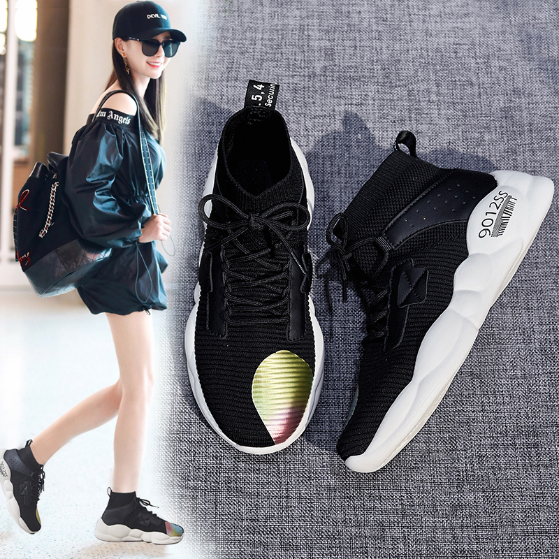 Foreign trade original single cut high quality women's shoes autumn high shoes fast fashion wild socks shoes sports shoes 38