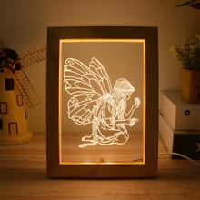 3D Illusion ramka na zdjęcia LED noc jasne drewno biurko dekoracja stołu z kablem USB akrylowe płaskie dzieci prezent na boże narodzenie tanie tanio HZFCEW Night Light cartoon CN (pochodzenie) FR123 Noc światła Drewna NONE Żarówki led Przełącznik HOLIDAY 0-5 w ROHS