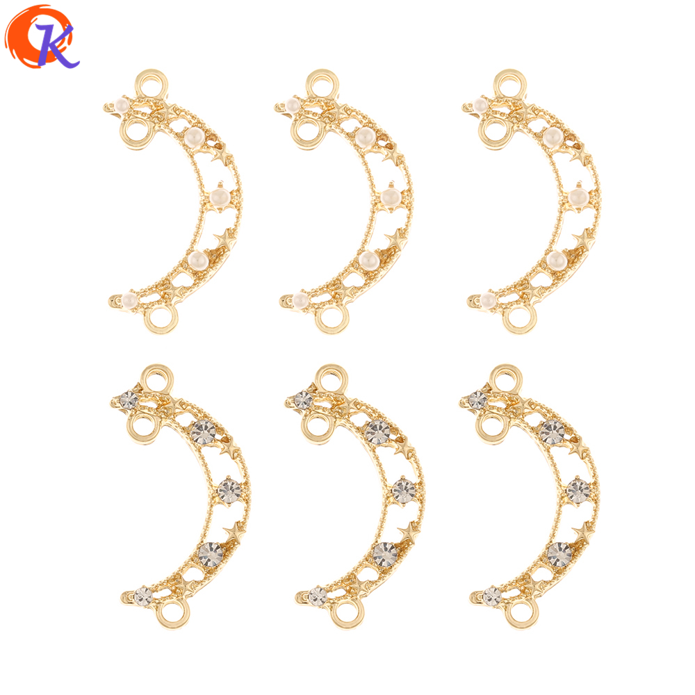 Cordial Design 100Pcs 13*26MM Jewelry Accessories/Earrings Connectors/DIY Making/Charms/Moon Shape/Hand Made/Earring Findings
