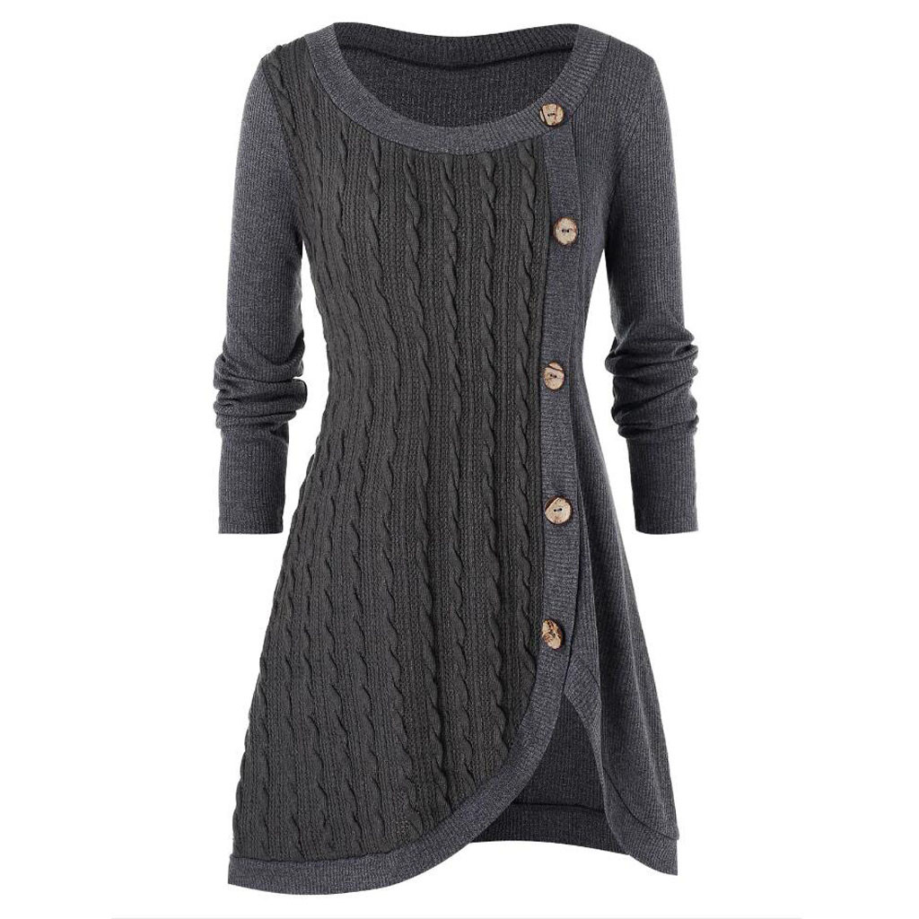 Plus Size 5XL Winter Solid Buttons Tunic Sweater Women Warm Long Sleeve Knitted Pullover Sweater Female Jumper Women Ladies Tops 1