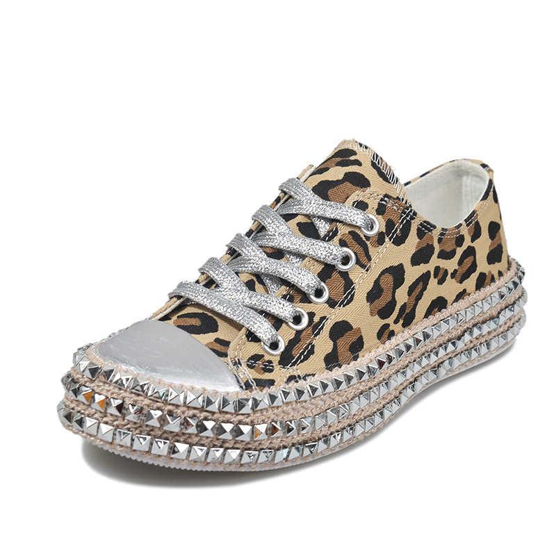Sexy Leopard High Top Sneakers Frauen Mode Grenzt Niet Wohnungen Leinwand Schuhe Frau Herbst Plattform Damen Casual Schuhe 2020