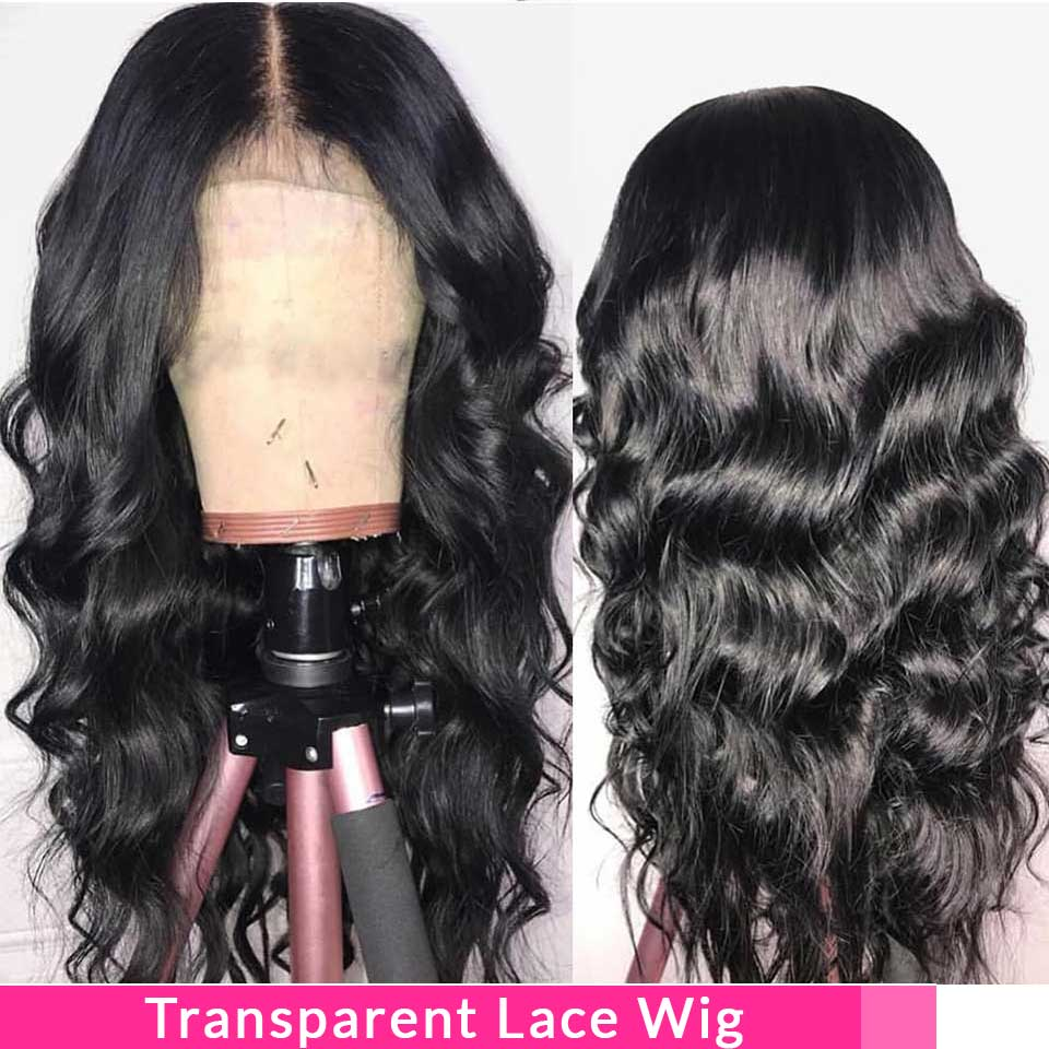Brazilian Body Wave Lace Front Wigs For Black Women 13*4 Transparent/Medium Brown Remy Lace Frontal Human Hair Wigs Pre Plucked