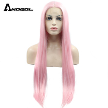 Anogol Pink Synthetic Lace Front Wig Middle Part Long Straight  For White Women High Temperature Fiber