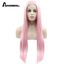 Anogol pembe sentetik dantel ön peruk orta kısmı uzun düz beyaz kadınlar için yüksek sıcaklık Fiber