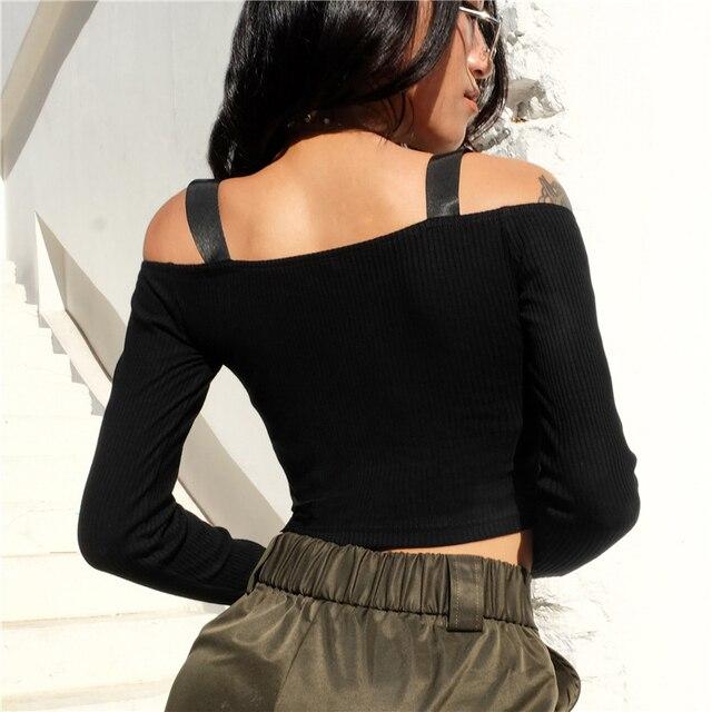 Spring T Shirt Women Long Sleeve T-shirt Crop Top 2020 Korean Fashion Style Feminina Knitted Cotton Black Sexy Short tshirt 2