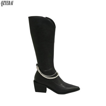 New winter Mid-Calf boots Genuine leather Women boots Fashion boots pointed pearl warm cowhide western snow boots Women shoes