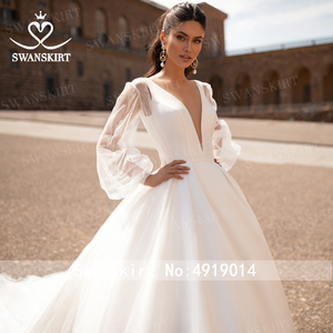 Image 4 - Fashion V neck Satin Wedding Dress 2020 Detachable 2 In 1 A Line Princess Swanskirt I216 Bridal Court Train Vestido de Noiva