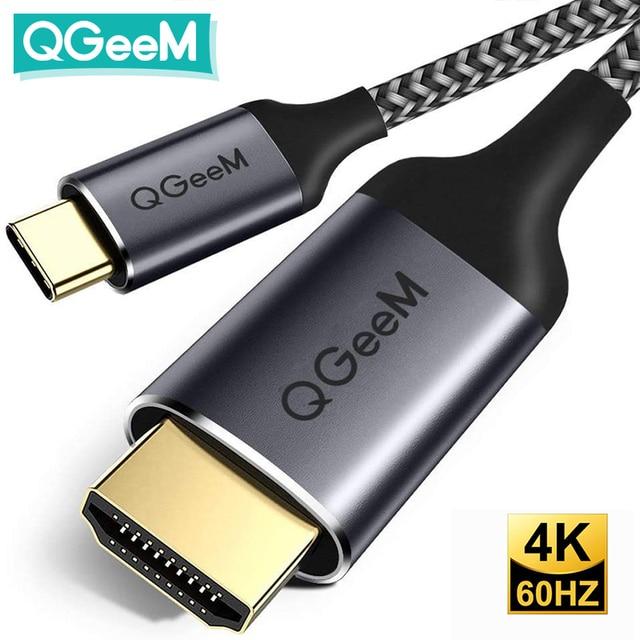 QGeeM USB C كابل وصلة بينية مُتعددة الوسائط وعالية الوضوح 4K نوع C HDMI Thunderbolt 3 محول لماك بوك هواوي ماتي 30 USB C محول HDMI USB نوع C إلى HDMI