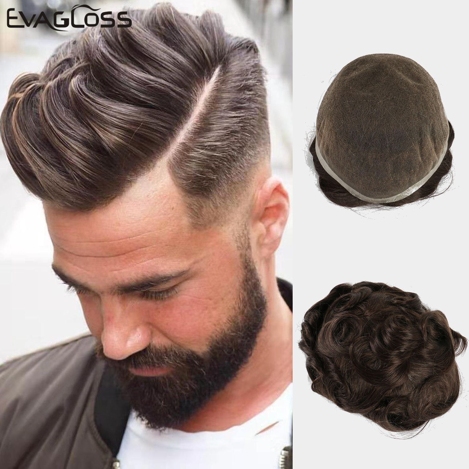 EVAGLOSS Men's Wig Super Durable Swiss Lace Mens Toupee Natural Indian Human Hair Mens Toupee 8*10 Inches Fast Shipping