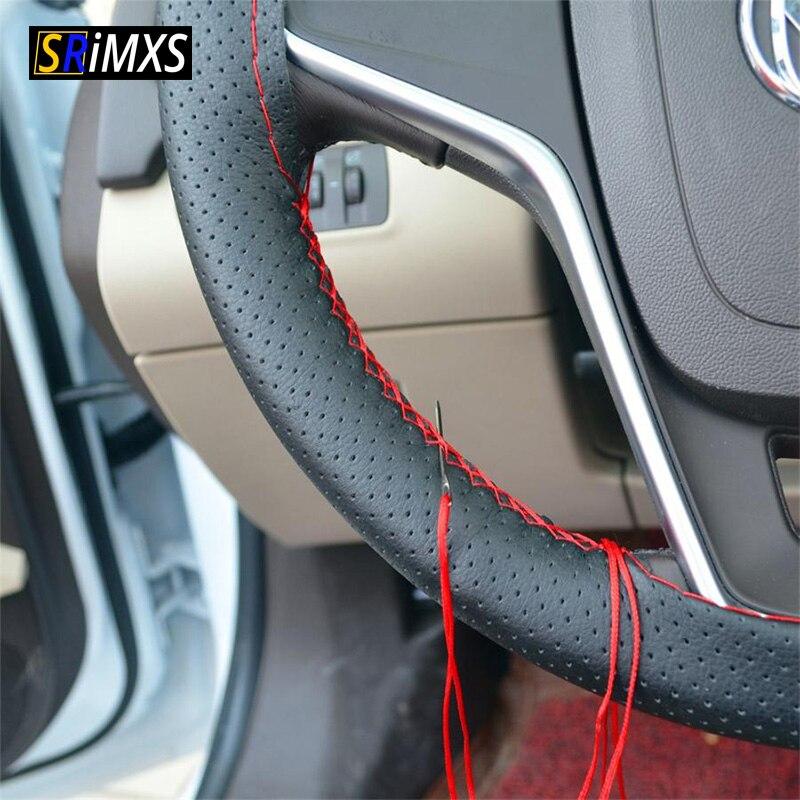 Capa de volante do carro diy com agulhas e linha couro artificial estilo automático cobre 36/38/40 cm cobertura de direção automática