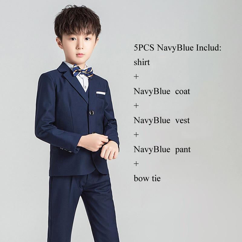 Костюм с цветочным принтом для мальчиков Детский Блейзер, торжественное платье, комплект одежды для свадьбы, 3/4/5 предметов, костюм+ штаны+ жилет+ рубашка+ галстук, Детские смокинги Garcon - Цвет: NavyBlue 5PCS