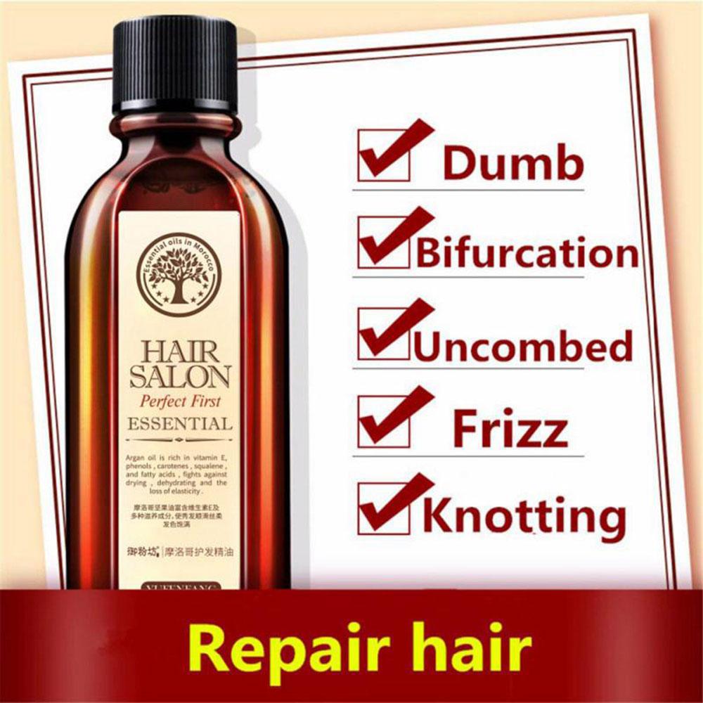 60ml Brand Multi functional Hair Scalp Treatments Hair Care Moroccan Pure Argan Oil Hair Essential Oil For Dry Hair Types in Hair Scalp Treatments from Beauty Health