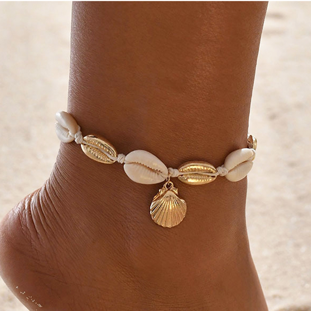 Summer Sea Shell Anklet Ankle Bracelets for Women Charms Scallop Seashell Anklet Bracelet on the Leg Female Chain on Foot