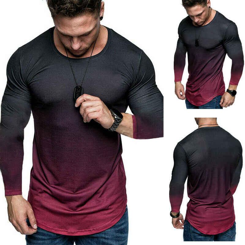 2020 marke Neue Modis Männer Sommer Gradienten Lange Hülse T-shirt Casual Grundlegende Fitness Elastic Gym T-shirt Männlichen T Tops Plus größe