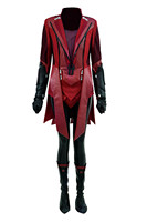 Cosdaddy Scarlet Witch Battle Suit Women Cosplay Costume Pu Outfit Full Set Halloween Party Costume