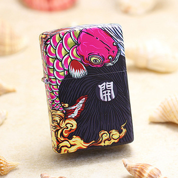 Genuine Zippo oil lighter copper Lucky Koi fish Coloured drawing cigarette Kerosene lighters Gift With anti-counterfeiting code