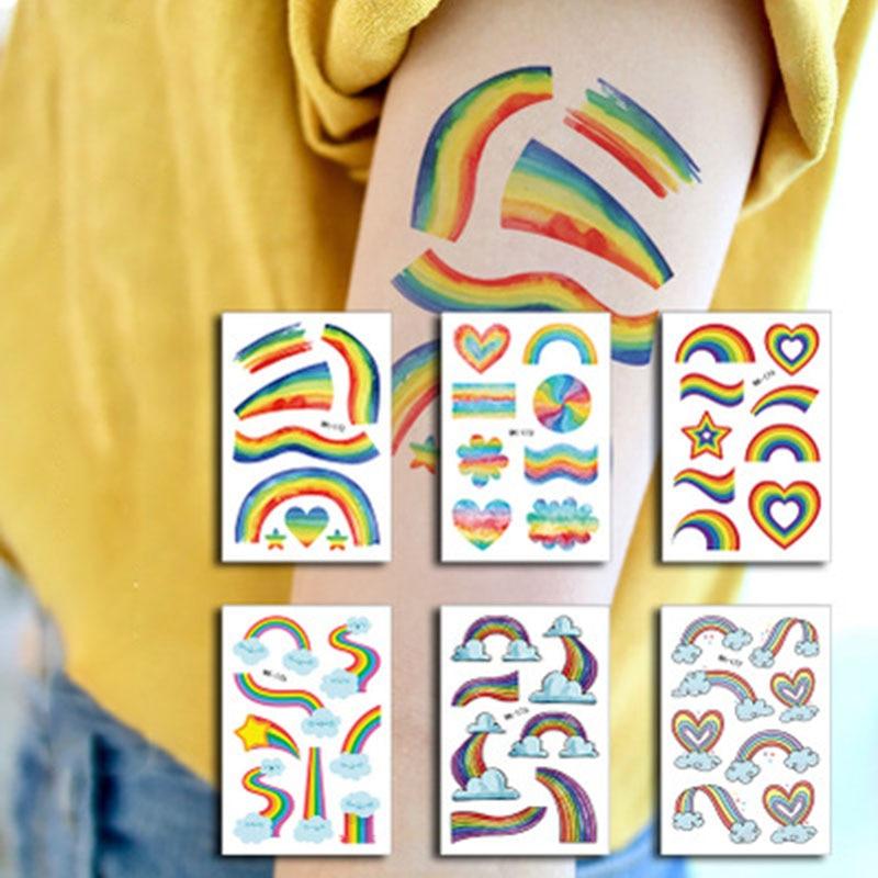 Children Temporary Tattoo Cartoon Rainbow Fake Tattoos Sticker Body Art Arm Leg 10pcs