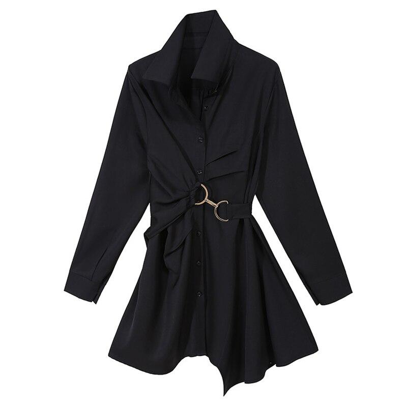 [eam] γυναικείο μαύρο/λευκό φόρεμα πουκαμίσα μακρυμάνικο με γιακά μόδα 2021 msow