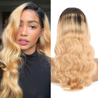 SEXAY Blonde Lace Front Wigs Human Hair For Women 150 Density 13x4 Lace Wig Ombre Color 1B 27 Honey Blonde Human Hair Wigs Remy