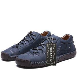 Image 4 - JUNJARM Handmade Men Casual Shoes Brand Men Sneakers Men Loafers Shoes Men Split Leather Breathable Moccasins Plus Size 38 48