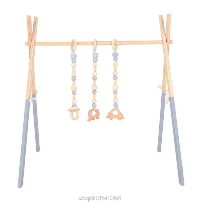 1Set Nordic Cartoon Baby Wooden Gym Fitness Frame Rack Hanging Pendant Toys Kit Toddler Infant Room Decor N17 20 Dropshipping