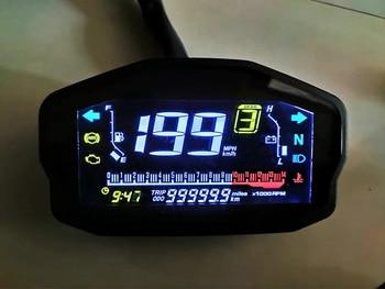 14000RMP Universal Motorcycle Digital LCD Speedometer Gauges Odometer Tachometer Water Temperature Trip Meter Oil Gauge