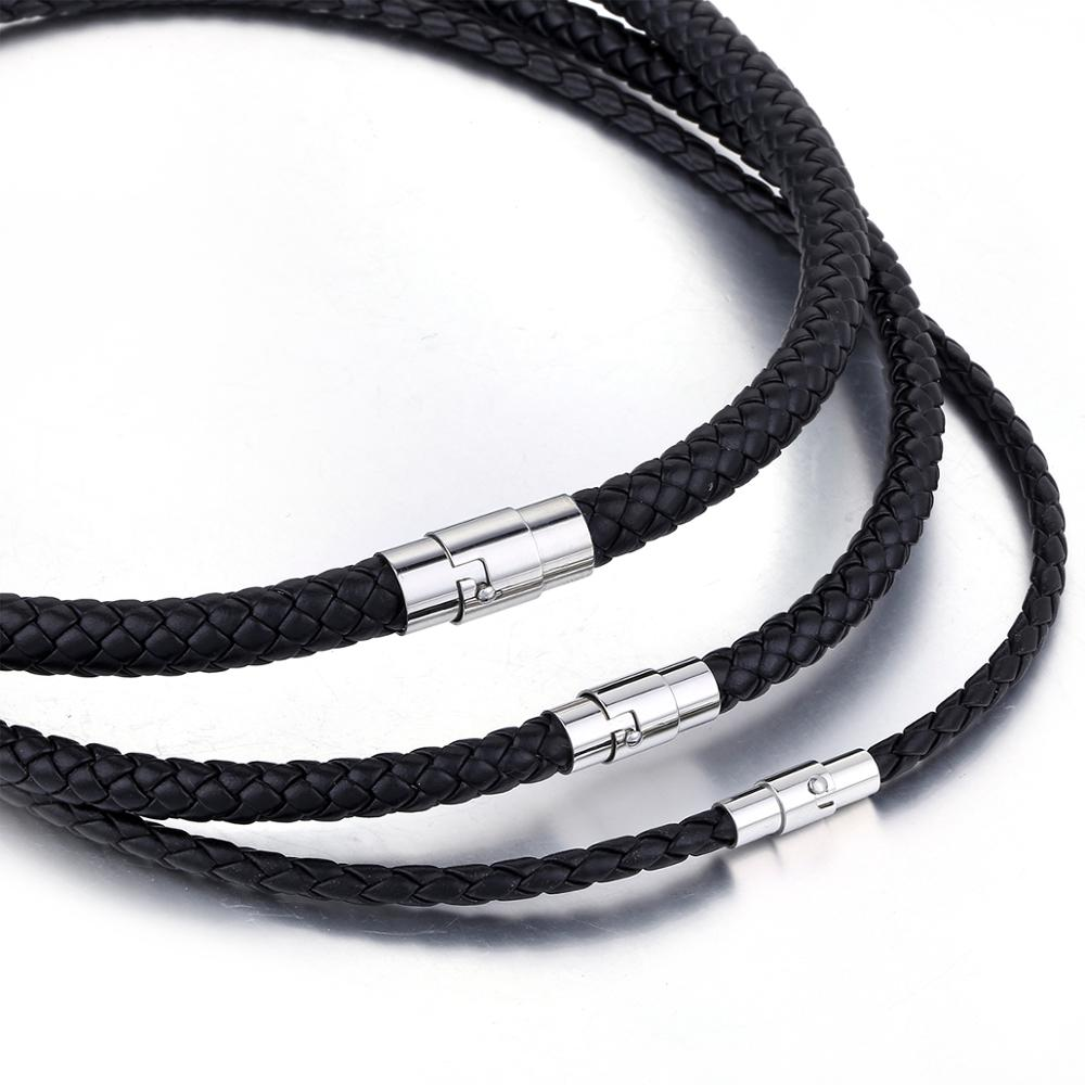 Thin Brown Black Braided Cord Rope Man Made Leather Necklace for Men Chocker Silver Color Stainless Steel Clasp 4/6/8mm LUNM09