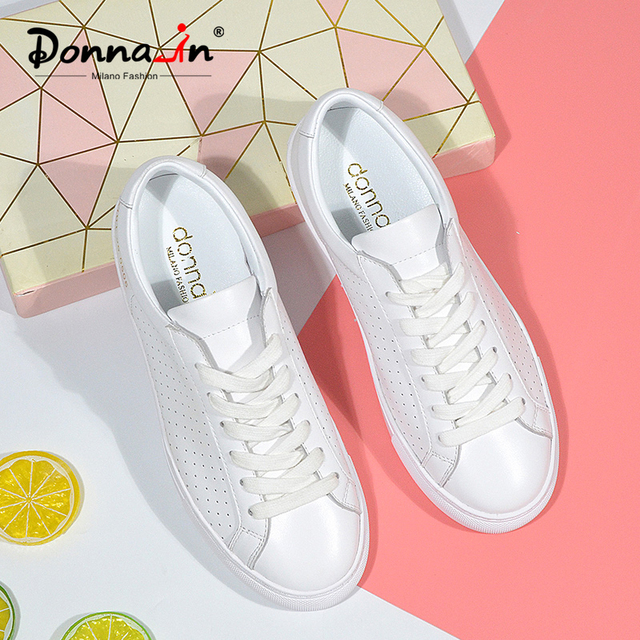 Donna in Breathable Genuine Leather White Sneakers Women Hollow Spring Summer Casual Flat Women Shoes