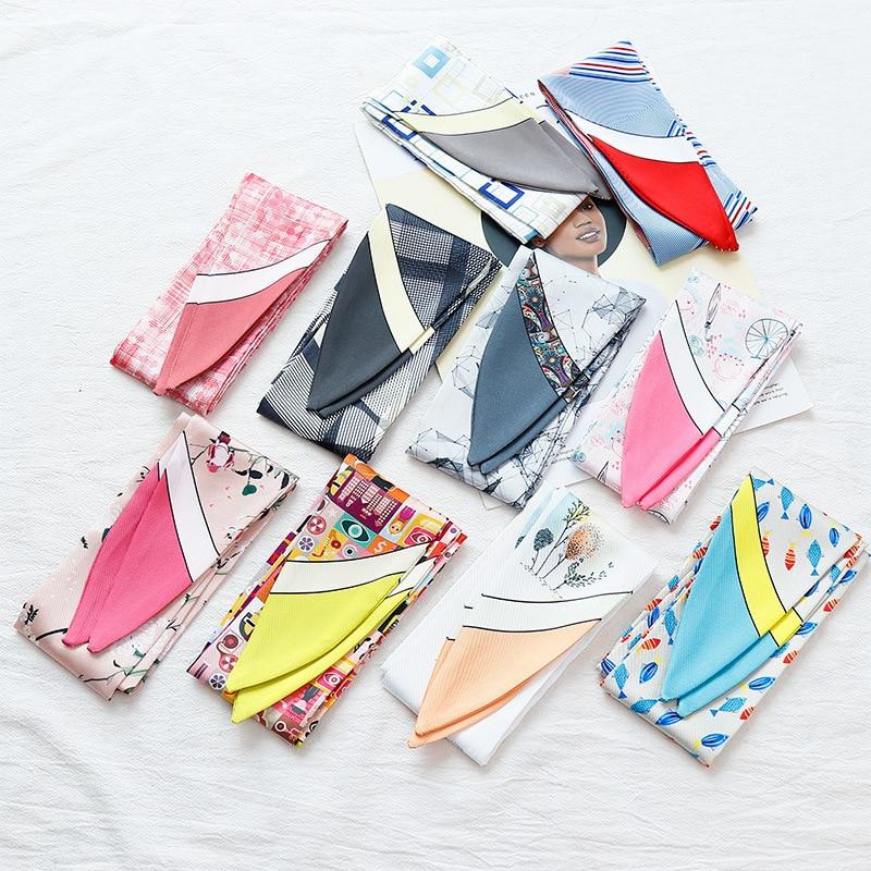 Multi-function Printing Small Scarf Skinny Scarf Tied Bag Handle Silk Scarf Ribbon Ladies Decorative Headband Small Streamers