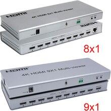Przełącznik 4K 8x1 HDMI Quad multi viewer przełącznik 8 w 1 Out przełącznik bez szwu 9x1 Multi viewer PIP konwerter ekranu obrazu