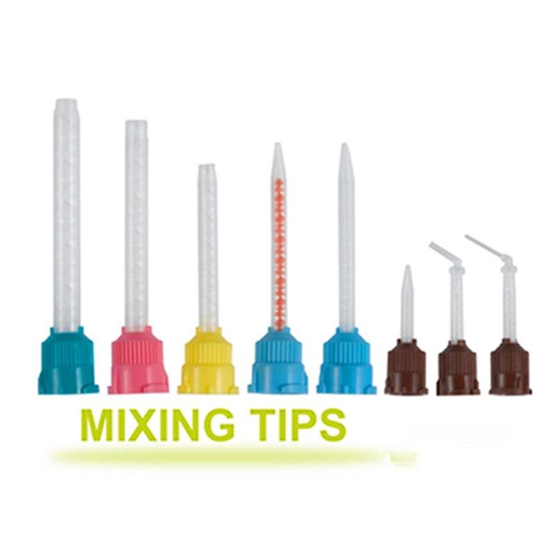 50 Pcs/Pack Dental Materials 14mm Impression Mixing Tips Temporary Silicon Rubber Dispenser Gun Mix Head Dentist Tools(China)