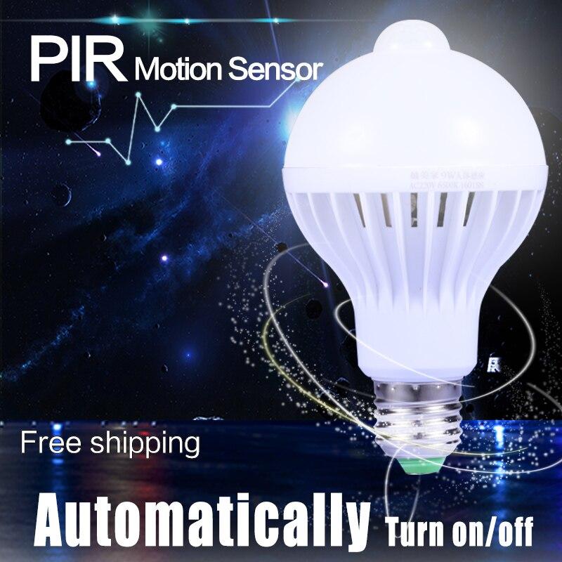 Smart PIR Motion Sensor Night Light 220V 3W 5W 7W 9W E27 LED Bulbs Lamp Sound Rardar Sensor 12W Ceiling Lights  For Home White