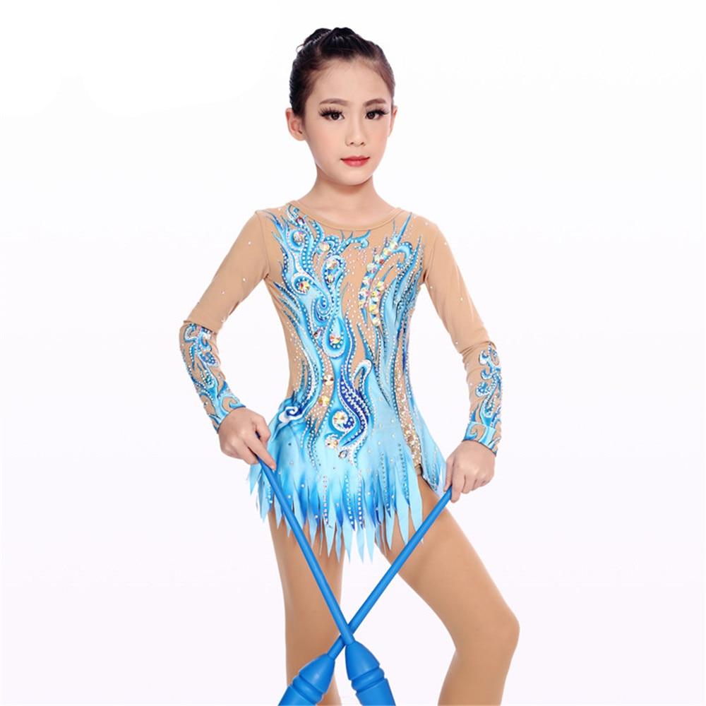 Women Rhythmic Gymnastics Leotards For Girls Performance Suit Artistic Gymnastics Dress Long Sleeve Kids Blue Round Neck