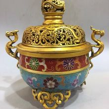 Chinese copper Cloisonne hand-carved three dragon incense burner Qianlong Year