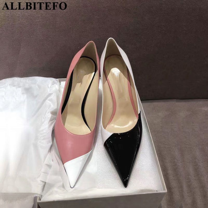 ALLBITEFO Colored Leather Genuine Leather Inside High Heels Women Shoes High Heel Shoes High Quality Girls New Brand Women Heels